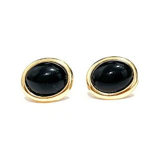 14K Gold & Black Stone Earrings