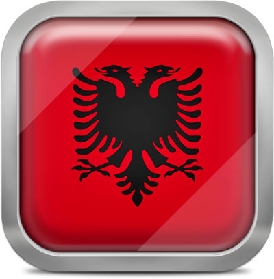 Albania square flag with metallic frame