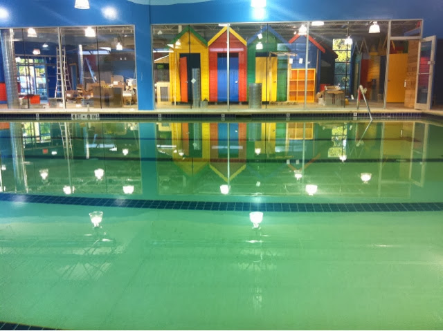Water in the new pool at Pengu!