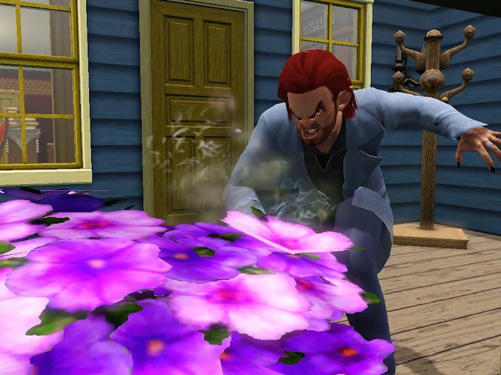 Hombre lobo destrozando flores