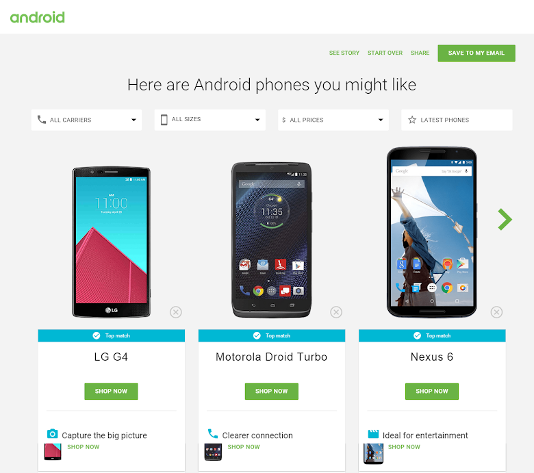 Android Phone Picker results