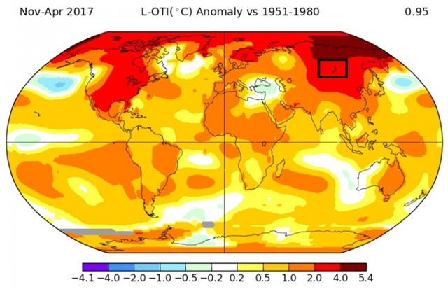 Temperatures in Siberia were up 7.2°F above normal from November 2016 to April 2017. Graphic: NASA GISS