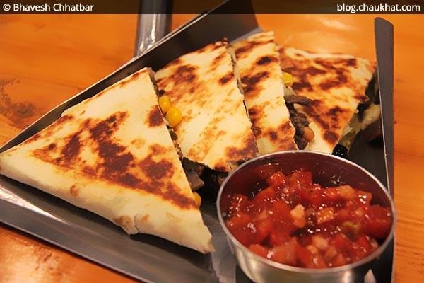 Corn Fusion Quesadillas with Salsa at Double Roti, Viman Nagar, Pune