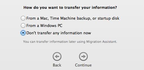 Pilihan transfer setting dan file