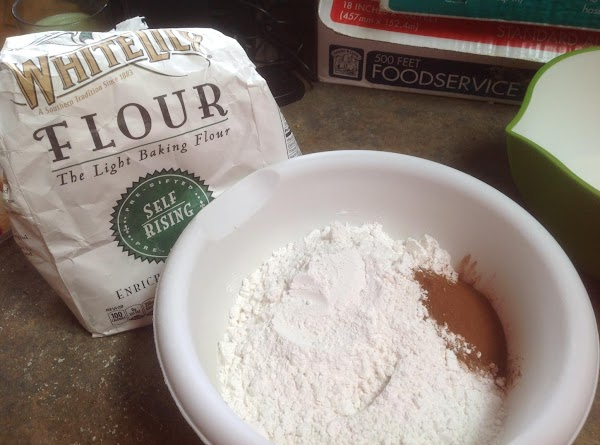 Add flour, cinnamon and butterscotch pudding to a medium size bowl. Then stir to...