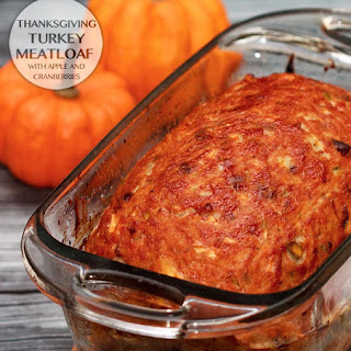 Thanksgiving Turkey Meatloaf with Apple and Cranberries.