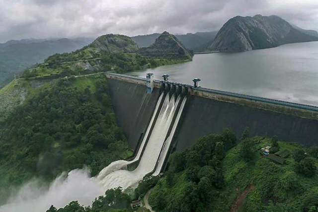 The Idukki Dam in Kerala, India, with spillways fully open due to the worst flooding since 1924, 15 August 2018. Photo: PTI