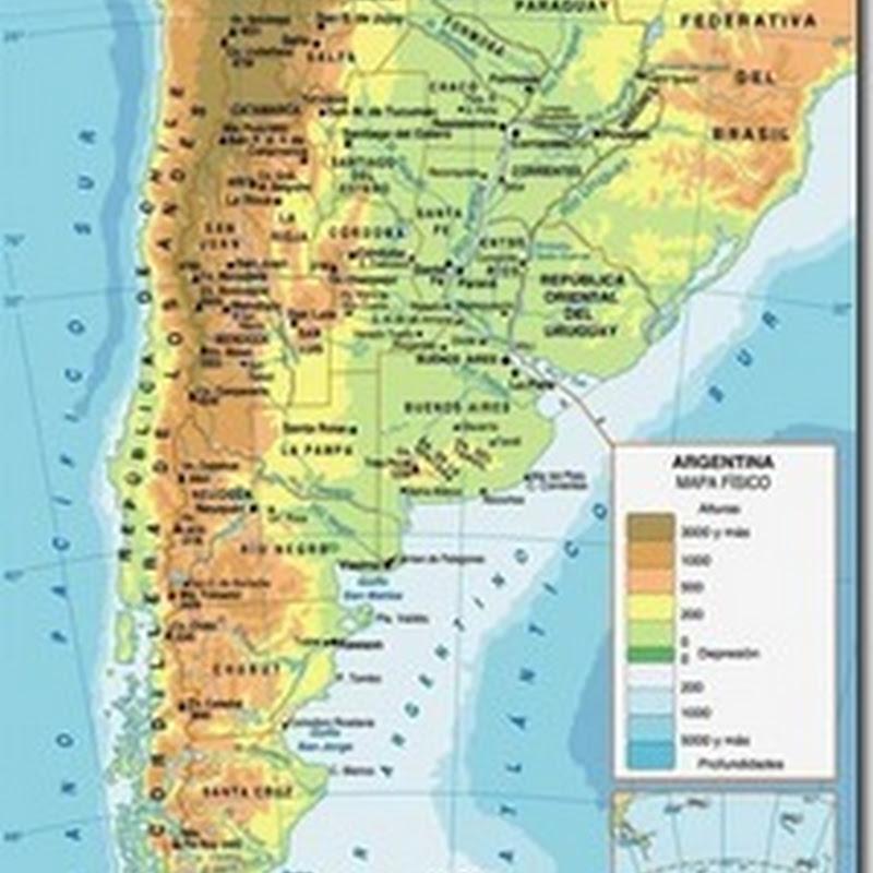 Mapas de Argentina física, política, mudo, etc.