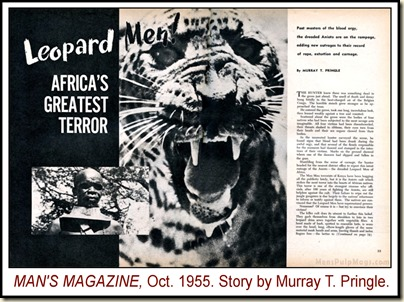 Man's Magazine, Oct 1955, Leopard Men story WM