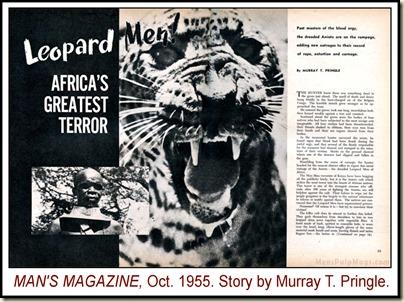 Man's Magazine, Oct 1955, Leopard Men story WM