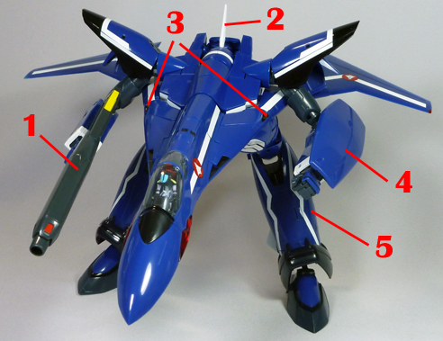 Macross 7 VF-19F Excalibur Blazer Valkyrie Armament weapon position