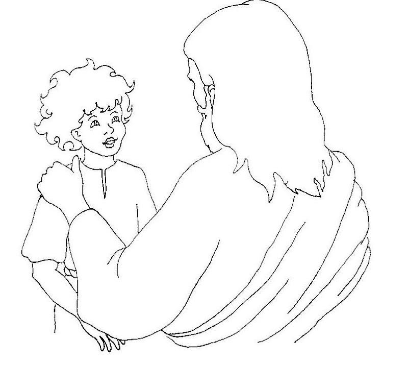 Jesus y el niño para colorear
