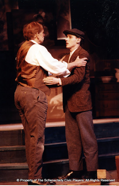 Bob Laurilliard and Kevin Miller in LOOK HOMEWARD, ANGEL (R) - March 1994.  Property of The Schenectady Civic Players Theater Archive.