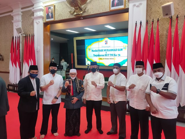 Danrem 061/Sk Bersama Habib Luthfi Hadiri Peringatan Maulid Nabi Muhammad SAW Yang  Diselenggarakan  Forkopimda Kota Bogor