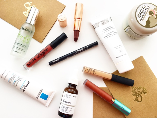 review beauty bakerie lip whip ginger snap, caudalie beauty elixir, la roche posay effaclar duo, the ordinary vitamin C suspension, ren 1 minute facial