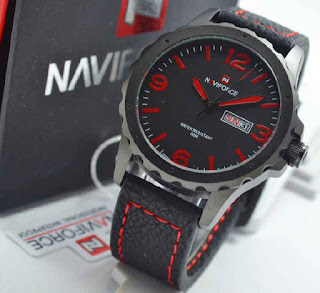 jam tangan NAVIforce NF9039 black leather red