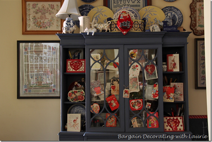 Decorating the Hutch for Valentine's Day