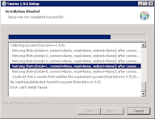 problem install taurus on windows 2012 R2 64 bits - Google Groups
