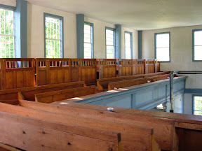 The original pews remain in the gallery.