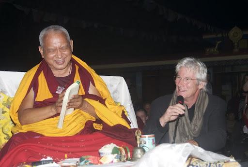 Lama Zopa Rinpoche and Richard Gere, Root Institute, Bodhgaya, India, January 2012. Photo by Bill Kane.