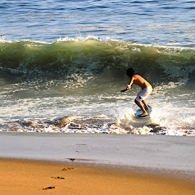 Surfer and wave by Cristobal Garciaferro Rubio - Sports & Fitness Other Sports ( shore, water, sand, surfer, wave, sea )