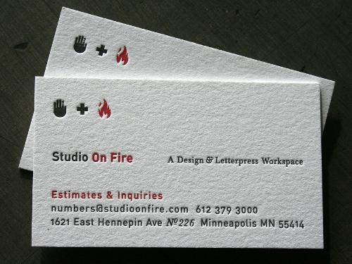 Studio On Fire business cards