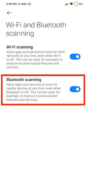 Turn Bluetooth Scanning Off
