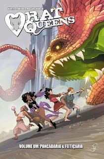 Imagem de Capa da Edição mostra o grupo Rat Queens fugindo de um dragão após roubar seu covil.