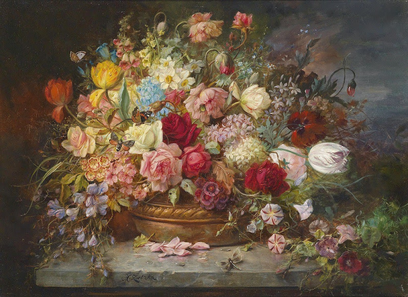 Hans Zatzka - Bouquet of Flowers in a Copper Bowl with Dragonfly