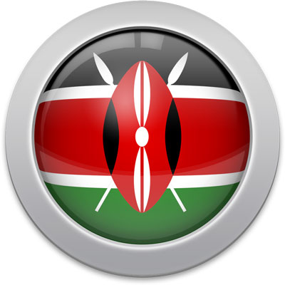 Kenyan flag icon with a silver frame