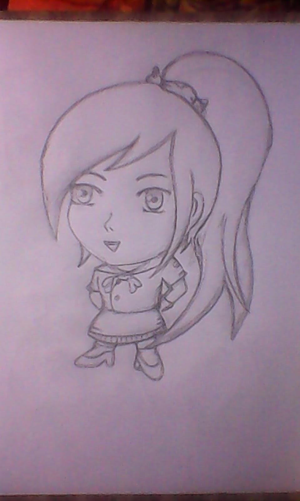 Gambar anime kartun dengan pensil