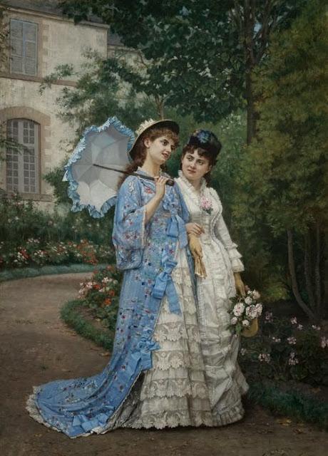 Auguste Toulmouche - A Garden Stroll
