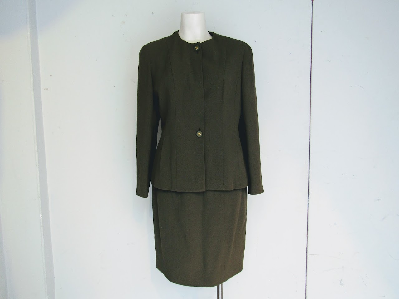 Chanel Boutique Olive Green Skirt Suit
