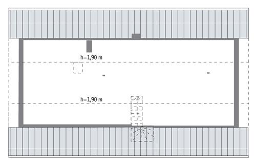 Lubiany - wariant I - C281a - Rzut poddasza do indywidualnej adaptacji (60,2 m2 powierzchni użytkowej)