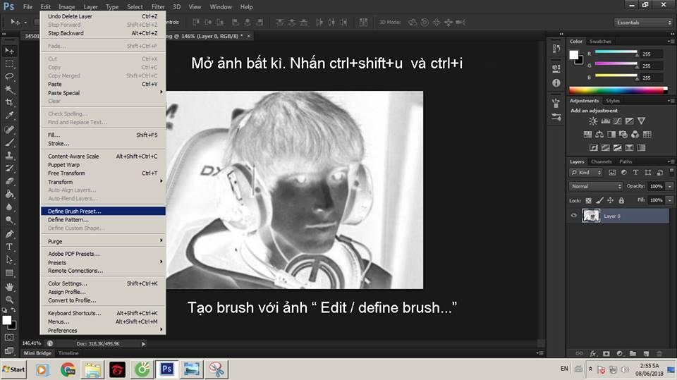Dùng photoshop tạo Brush với ảnh vừa mở