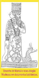 Desenho de Marduk e o seu dragão