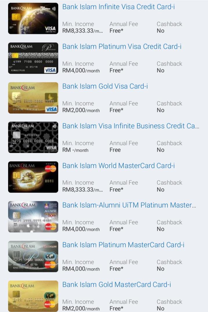 Rujuk Gambar Kad Kredit Bank Islam di Bawah: