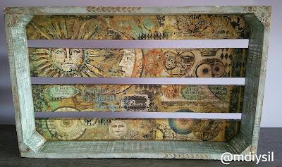 Caja madera decorada con chalk paint, decoupage y relieves