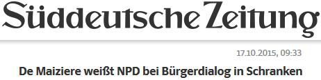 De Maiziere weißt NPD bei Bürgerdialog in Schranken
