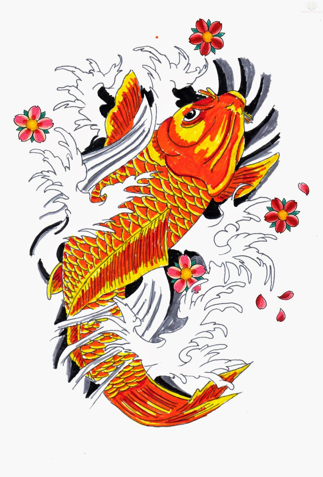 April 2015 free tattoo pictures for Japanese koi design