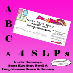 ABCs 4 SLPs: G is for Giveaways - Super Hero Story Recall & Comprehension Pack Review and Giveaway image