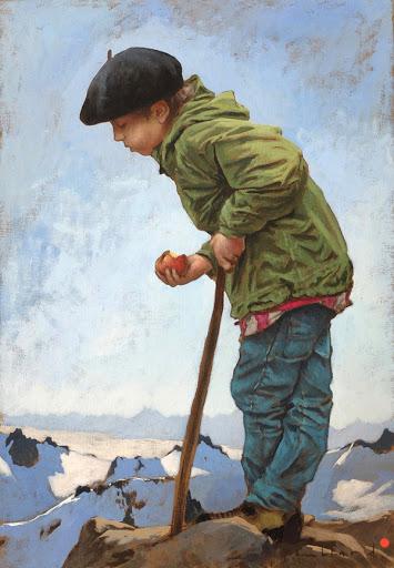 Petit berger rêveur. oil on canvas, 55x31cm