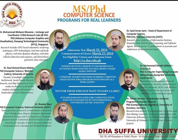 MS/PHD Computer Science Programs @ DHA Suffa University