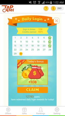 TapCash bonus diario