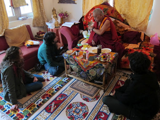 Mai, Osel, Lama Zopa Rinpoche and Kunkyen in Bodh Gaya Jan 2012