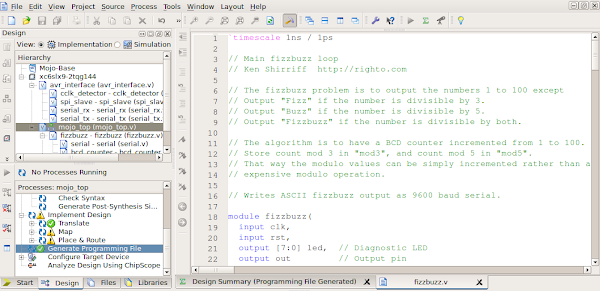 By writing Verilog code in Xilinx's ISE tool, you can program functionality into an FPGA.