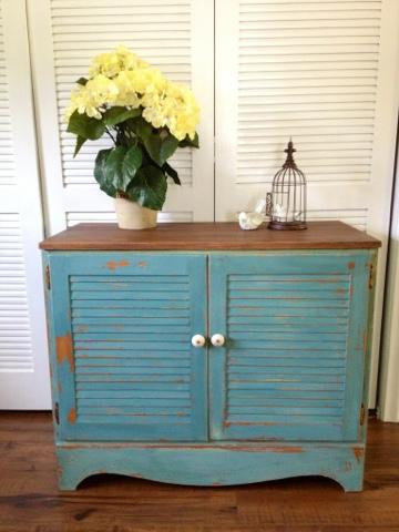 Blue Hydrangea Furniture Shutter Cabinet