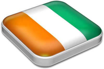 Flag of Cote d'Ivoire with metallic square frame