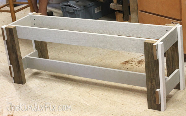Bench made of pressure treated lumber