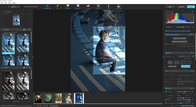 Crop tool works well and offers several different overlays